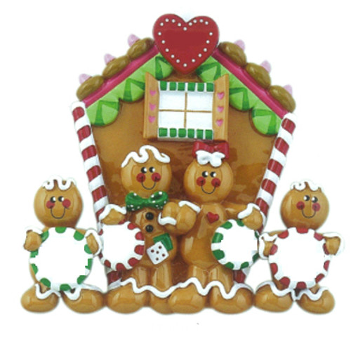 Free Personalization* Gingerbread House Family of 4