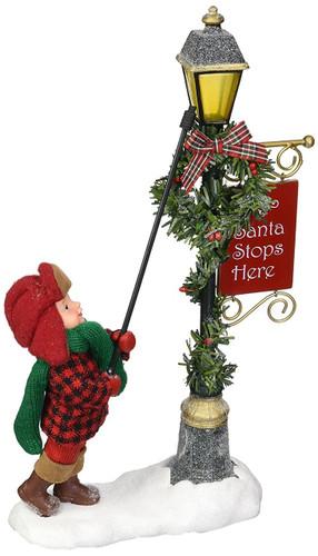 "Department 56 Possible Dreams Santa Claus ""Lamp Lighter"" Clothtique Christmas Figurine"