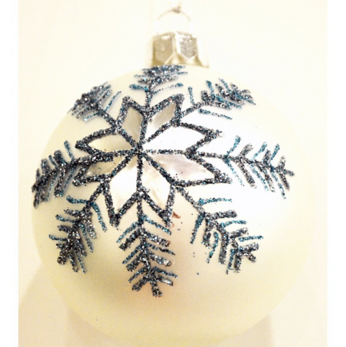 BLUE/WHITE W/ SNOWFLAKE GLITTER DESIGN GLASS ORNAMENT