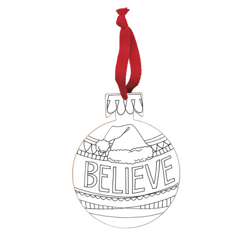 Primitives By Kathy - Believe Santa Hat Ornament