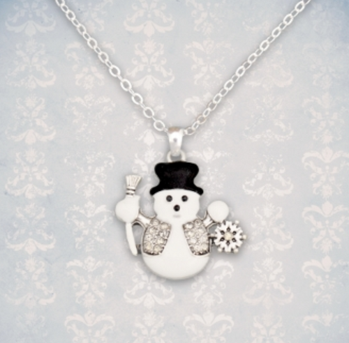 Snowman With Crystal Vest Necklace