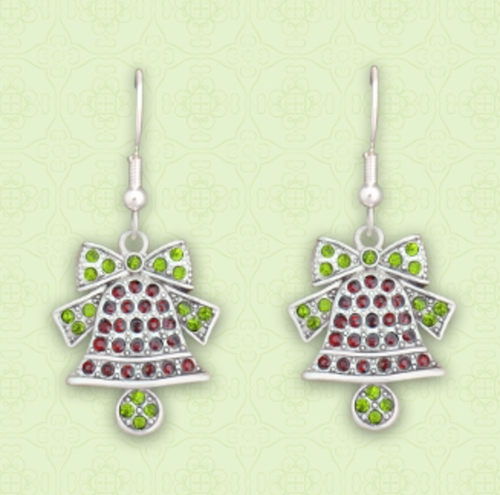 Christmas Bell Crystal Earrings