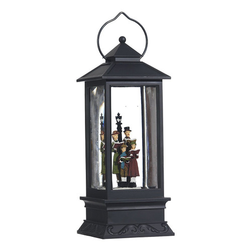 Lighted Snow Globe Lantern: 11 Inch, Black Holiday Water Lantern (Carolers)