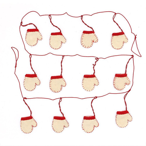"Home for The Holidays 72"" L Wool Mitten Garland, Cream"