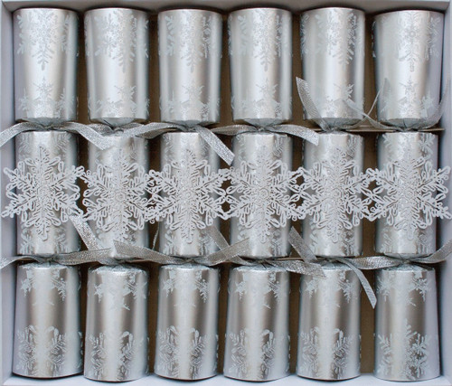 Caspari Falling Snow Celebration Crackers with Luxury Embellishments, Box of 6