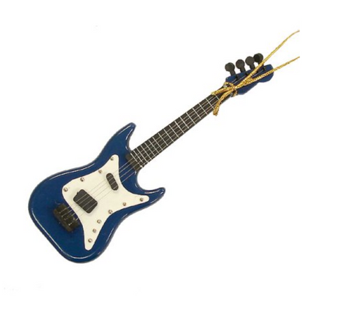 "5.5"" Navy Blue Electric Guitar Christmas Ornament"
