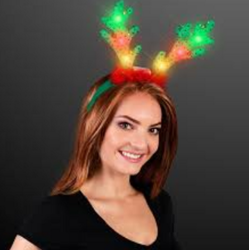 Blinky Soft Reindeer Antlers with Jingle Bells