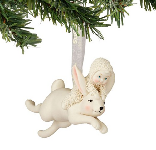 Snowbabies Jumping On A Rabbit Ornament
