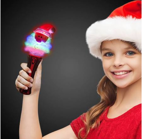 LED Santa Claus Wand, Spinning Light Toy