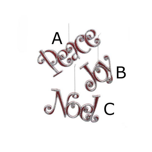Peace, Joy and Noel Ornament 3 Assorted