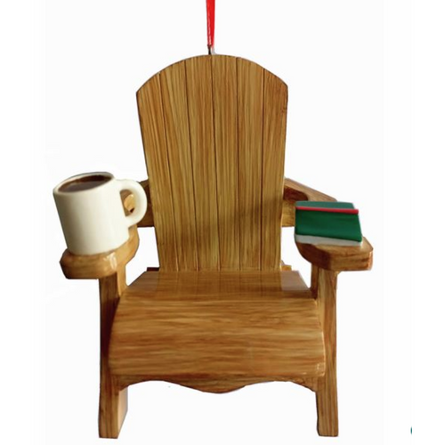 Adirondack Chair with Coffee and Book ornament for personalization