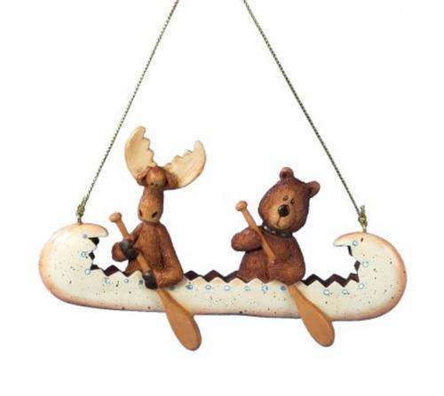 """Kurt Adler 5"""" Resin Bear & Moose IN Canoe Ornament"""