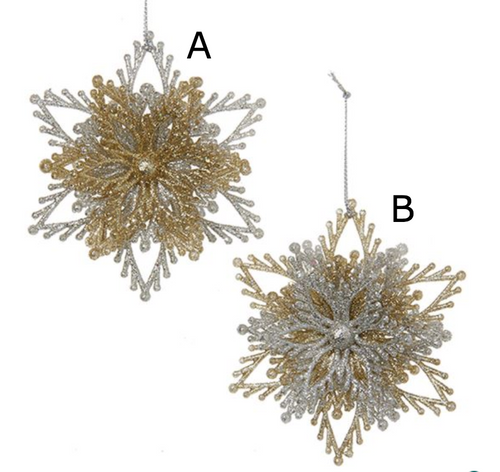 Gold and Silver Snowflake Burst Ornaments from Kurt Adler