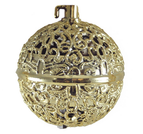 Chirping Bird Gold Colored Ball Hanging Christmas Ornament