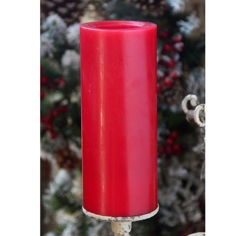 Candle Impressions 8 Inch Smooth Red Flameless Candle - Timer