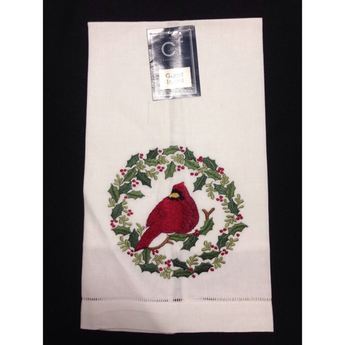 Guest Towel Embroidered Cardinal Holly Wreath