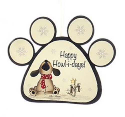 "Wooden Dog and Cat Paw With Sayings Ornament - ""Happy Howl-I-Days!"" by Kurt Adler"