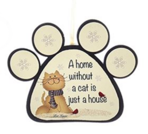 "Wooden Dog and Cat Paw With Sayings Ornament -""A Home Without A dog Is Just A House"" by Kurt Adler"