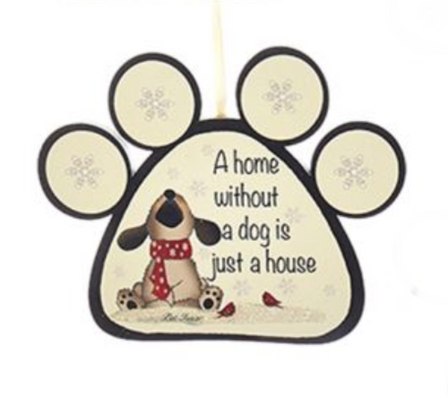 "Wooden Dog and Cat Paw With Sayings Ornament - ""A Home Without A Cat Is Just A House."" by Kurt Adler"