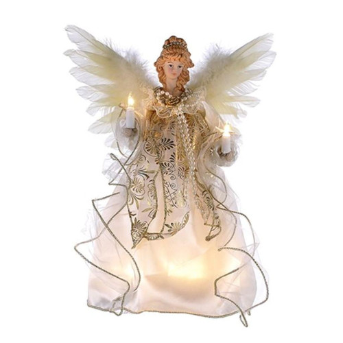 12 inch Ivory and Gold  Angel Treetopper