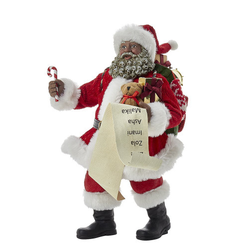 Kurt Adler's Fabriché African Santa with List and Candy Cane