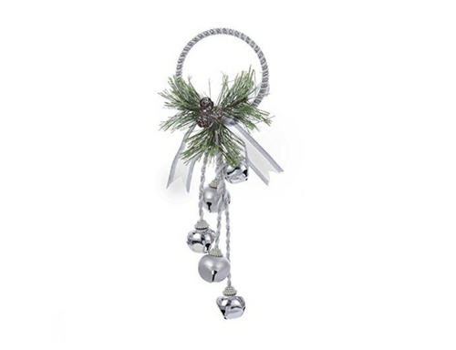 "Kurt Adler 13"" Silver and White Metal Bell Door Hanger with Pinecone Decor"