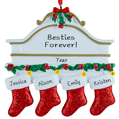 Free Personalization*  White Mantle with 4 Glittering Red Stockings Ornament