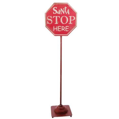 Santa Stop Here Metal Sign