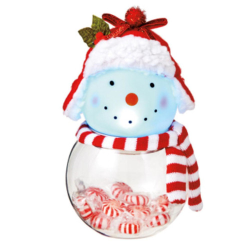 Light Up Snowman Candy Container