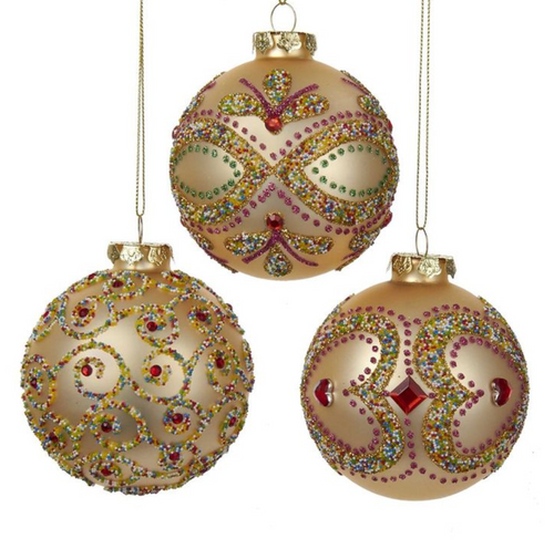 Rose and Gold Diamond Ball Ornaments Set of 3