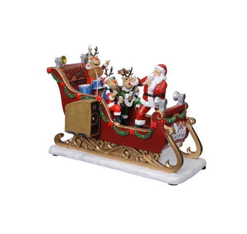 Santa and Reindeer Musical Sleigh Band