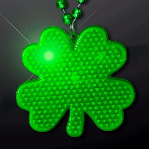 St. Patrick's Green LED Shamrock Charm Beaded Necklace