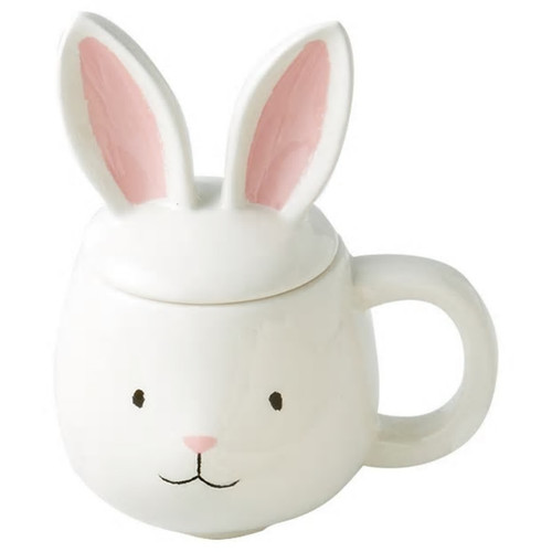 White Bunny Mug with Lid