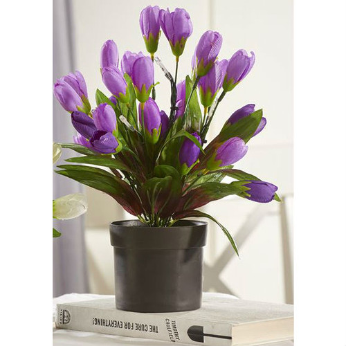 LED Purple Potted Artificial Floral