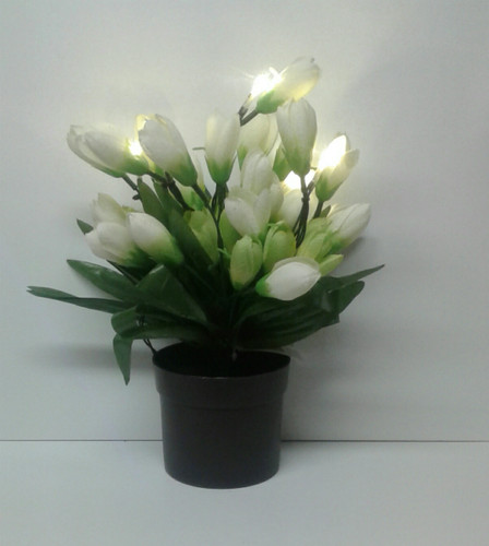 LED White Potted Artificial Floral