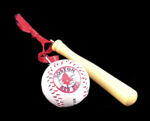 Red Sox Bat and Ball Ornament
