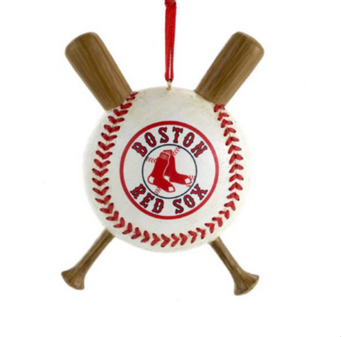 Red Sox Ball with Crossed Baseball Bats Ornament
