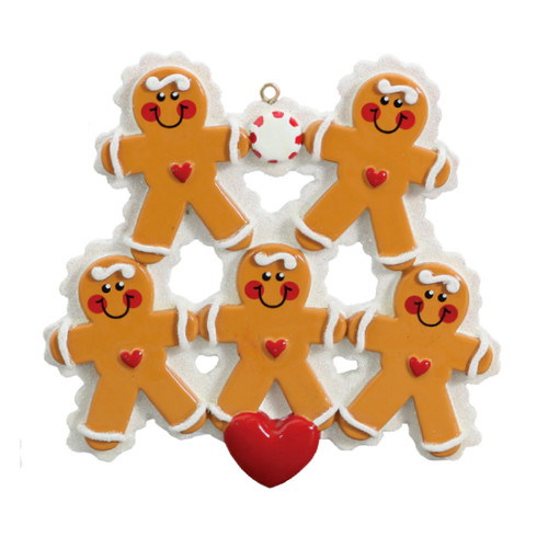 Free Personalization* 5 Gingerbread People with Red Heart Ornament