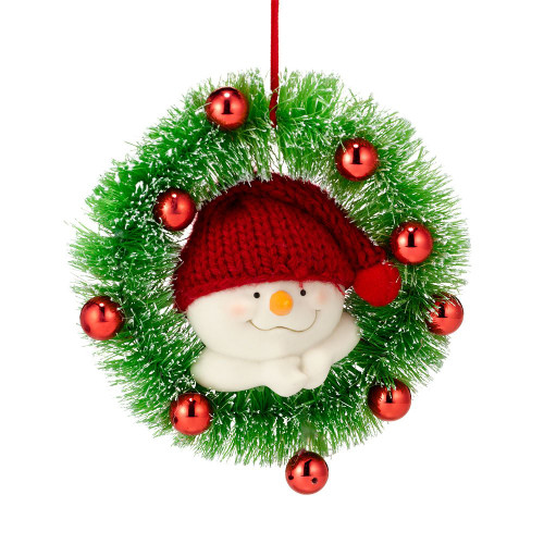 Snowpinion Snowman in Wreath Ornament
