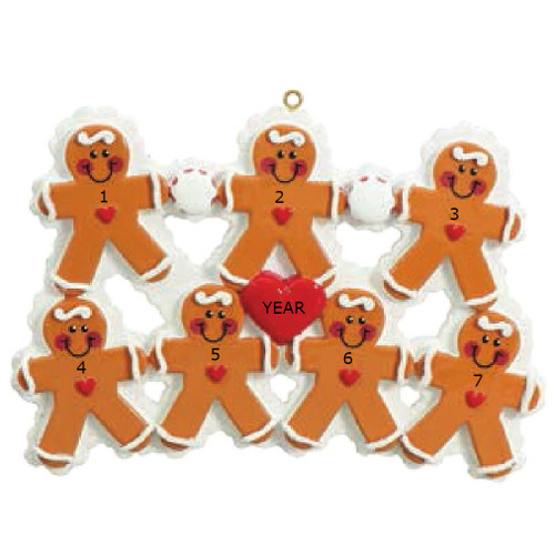 Free Personalization* 7 Gingerbread People with Red Heart Ornament