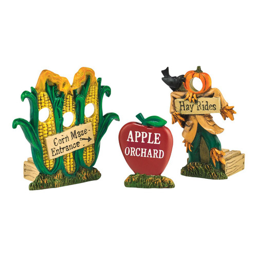 Department 56 - Village Accessories - Harvest Field Fun Signs Set of 3