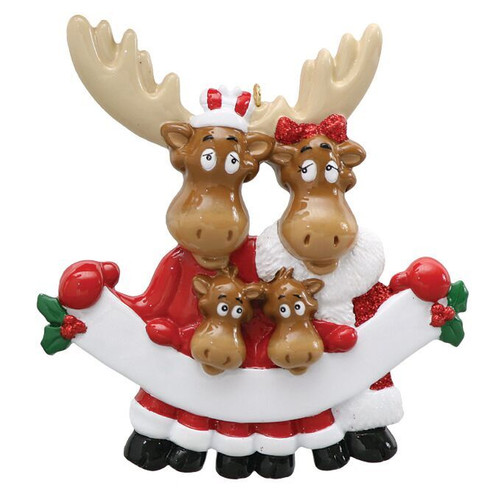 Free Personalization - Moose Family of 4 with Banner Ornament