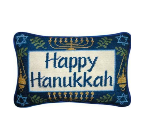 Happy Hanukkah Stitched Pillow