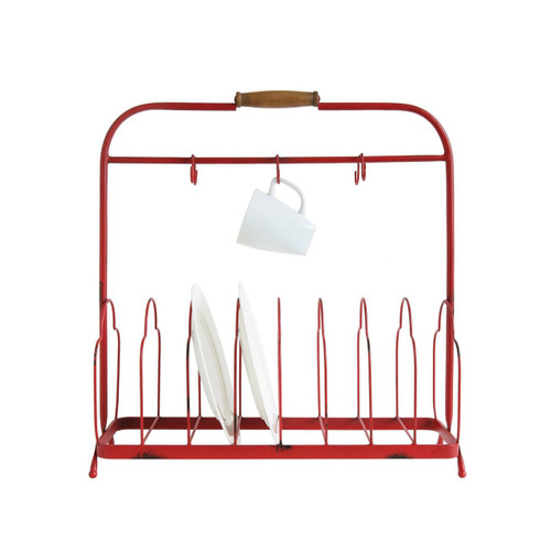 Distressed Red Metal Dish Holder with 6 Hooks