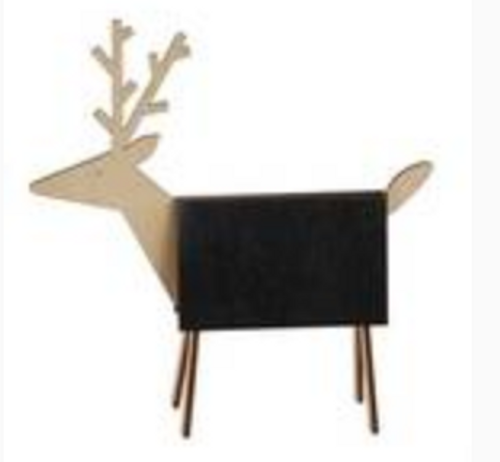 """Pack of 6 6""""L x 6""""H Wood Deer with Chalkboard & Chalk"""