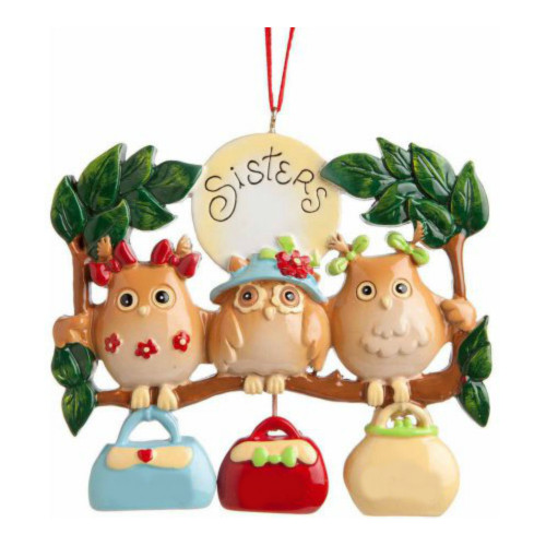 *Free Personalization* 3 Owl Sisters Ornament