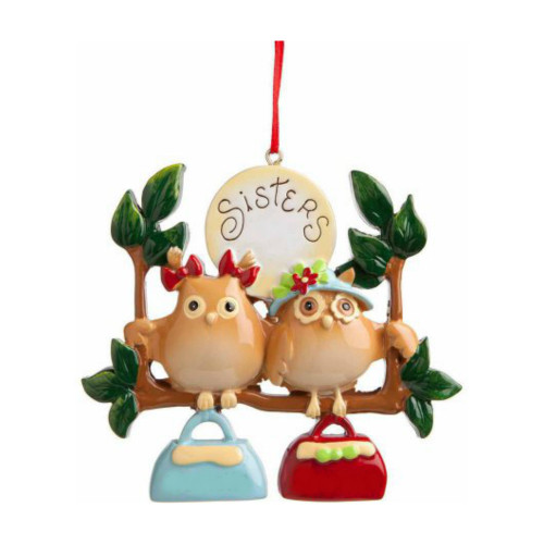 *Free Personalization* 2 Owl Sisters Ornament