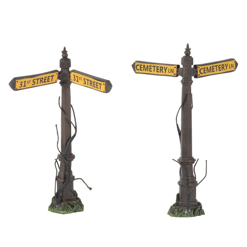 Department 56 - Halloween Village -Creepy Street Signs (Set of 2) 2018