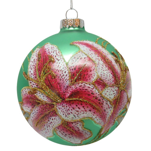 Pink Lily Glass Ornament