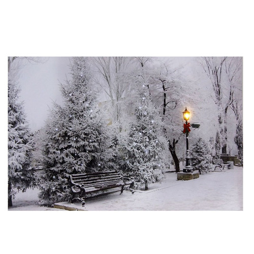 Winter Landscape Scene LED Battery Operated Lit Canvas